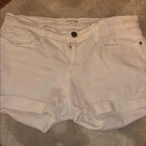 Frame white denim shorts